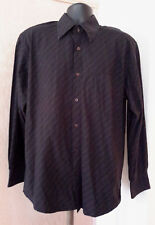 Eighth  Avenue Long Sleeve Black Brown Diagonal Stripe Button Front Shirt L