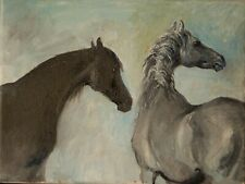 Original Oil . Grey Horses Greeting Each Other. White Horses