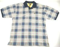 Tommy Hilfiger VTG Men's Sailing Gear Spell Out Polo Shirt Plaid 100% Cotton XL
