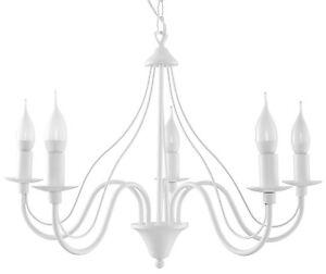 Minerwa 5x E-14 Kerzen, klassisch Kronleuchter Hängeleuchte Hängelampe weiß