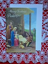 """""""Merry Christmas PASTOR """"  NATIVITY GREETING CARD, Gold Embossed NEW,with env."""