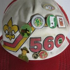 Vintage 80s Red Snapback Boy Scouts Hats Pins Central Ohio Arrowhead