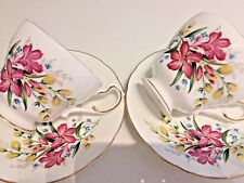 2 PARAGON Vintage China TEA CUP & SAUCER Duos Tea Set PINK FLOWERS Floral BRIGHT