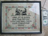 Nice Antique Framed Named & Dated 1929 Embroidered Sampler, Americana,Needlework