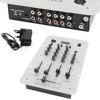 2-Channel DJ Mixer -3 Band Equalizer & Mic Input-Pre-Amplifier RCA Phono Karaoke