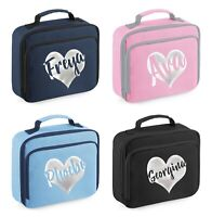 Personalised Glitter Name Lunch Cool Bag - Printed Customised Kids School Box