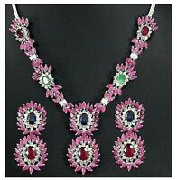 NATURAL RUBY EMERALD BLUE-SAPPHIRE RHODIUM NECKLACE SET IN 92.5 STERLING SILVER
