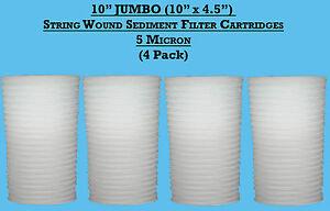 "4 x 10"" Jumbo Wound Yarn Sediment Water Filter Cartridge 5 Micron ,borehole,well"