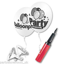 200 Personalised Logo Promotional Printed Balloons & Cups Sticks Balloon Pump PS