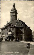 Bad Langensalza DDR Postkarte 1963 gelaufen Partie am Rathaus Motorrad Brunnen