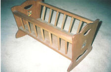 VINTAGE WOODEN ROCKING BABY DOLL CRADLE WITH OLD DECALS
