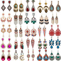New Elegant Women Fashion Rhinestone Ear Stud Drop Dangle Earrings Crystal Chain