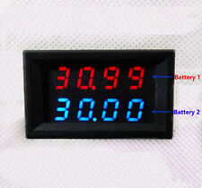 Battery Bank Monitor Voltage 0-33.00V Motorhome 2 Voltmeter in 1 Car Solar BY