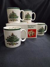 "Spode Christmas Tree, Green Trim, England: Set of 4 Tom & Jerry Mugs, 3.25"", Box"