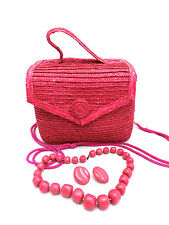 Hot Pink Straw Medium Handbag Shoulder Boxy Matching Jewelry 1980s