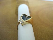 #130  ladys custom made 14K gold -onyx, mother of pearl, 10 diamond ring