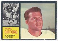1962 Topps football card #104 Frank Gifford, New York Giants EX+