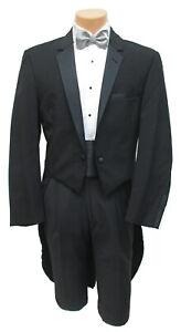 Boys Size 3 Black Tuxedo Tailcoat Long Tails White Tie Wedding Ring Bearer 3B