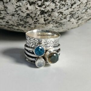 Blue Topaz Spinner Ring 925 Sterling Silver Plated Handmade Ring Size 5.75 at37