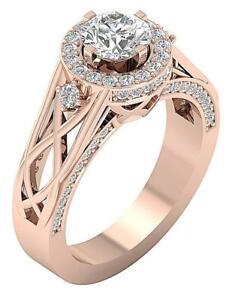 I1 G 1.80 Ct Round Diamond Designer Anniversary Ring 14K Rose Gold Prong Setting