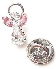 Elements Birthstone Guardian Angel Pin/badge October Rose & Swarovski Crystal