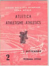 1960 Rome Olympic Athletics Track & Field PROGRAM  Sept 1, 1960 RARE!
