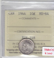 1944 CANADIAN 10 CENT COIN ICCS MS-64