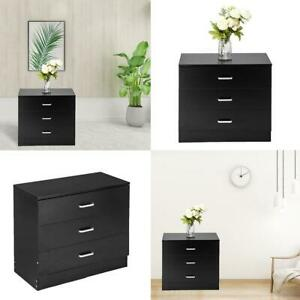 Wood Simple 3-Drawer Dresser Black Bedside Cupboards Storage Cabinet Side