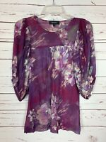 Karen Kane Boutique Women's S Small Purple Floral Spring Summer Top Blouse Shirt