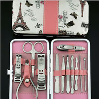 Nail Care 12PCS Cutter Cuticle Clipper Manicure Pedicure Kit Case Gift Set RWKG