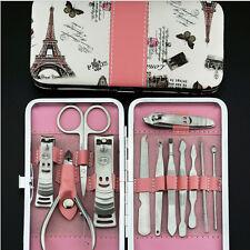 Nail Care 12X Cutter Cuticle Clipper Manicure Kit de pédicure Case Gift Set HUQ