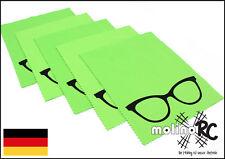 5x Brillenputztuch groß grün Brille Poliertuch Mikrofaser Reinigungstuch Display