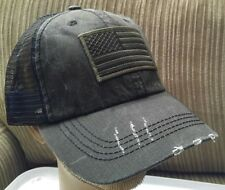 USA Flag Unstructured Special Washed Cotton Twill Distressed Mesh Trucker Hat