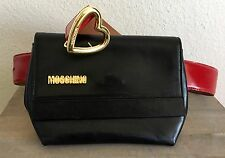 MOSCHINO Vintage Leather Waist Belt & Purse Fanny Pack Black Red Gold