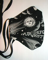 Celestial Ouija Fabric Face Mask with Ties & Filter Opening - Black Cotton