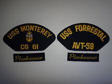 4 US Navy Patches: USS MONTEREY CG-61 + USS FORRESTAL AVT-59 + 2 PLANKOWNER