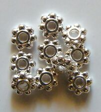250pcs 5x2mm Metal Alloy Daisy Spacers - Bright Silver