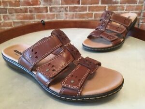 Clarks Brown Multi Leather Leisa Spring Triple Strap Slide Sandal New