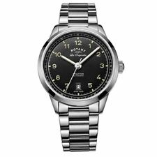 ROTARY MENS AUTOMATIC WATCH BLACK DIAL ANALOGUE DISPLAY & SILVER STAINLESS STEEL