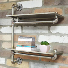 Industrial Metal 2 Tier Storage Pipe Wall Shelf Shelving Cupboard Display Unit