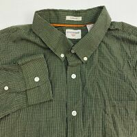 Dockers Button Up Shirt Mens 2XL XXL Green White Long Sleeve Classic Fit Checks