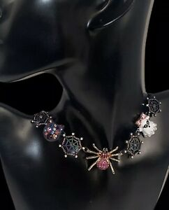 New BETSEY JOHNSON HALLOWEEN SPIDER CAT GHOST WEB WITH BLING NECKLACE