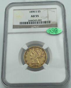 1898-S NGC & CAC AU55 $5 Gold Liberty Half Eagle