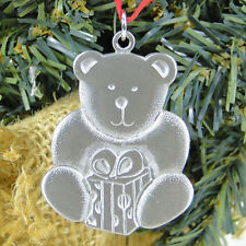 Swedish Christmas Pewter Ornament Teddy Bear Gift Package Rune Tennesmed Sweden