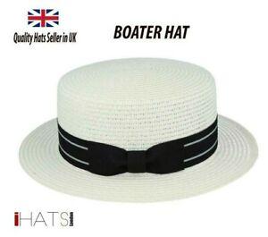 Summer Boater Hat Straw Unisex Sailor Skimmer Quality Sun hat - iHATS London UK