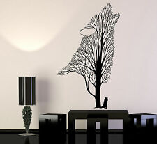 Vinyl Wall Decal Tree Howling Wolf Raven Animals Gothick Style Stickers (1242ig)