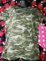 NEW Victoria's Secret PINK Perfect Crew Tee T Shirt Logo CAMO LARGE L VS