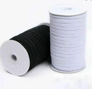 Flat WHITE Elastic BLACK Elastic Cord 3mm 5mm 10mm Sewing Elastic Face Mask