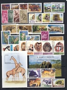 Wild African animals mnh vf stamps and sheets with lots of WWF sets on 2 pages