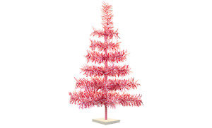 Valentine's Day Tinsel Christmas Trees Classic Feather Style Red, White & Pink